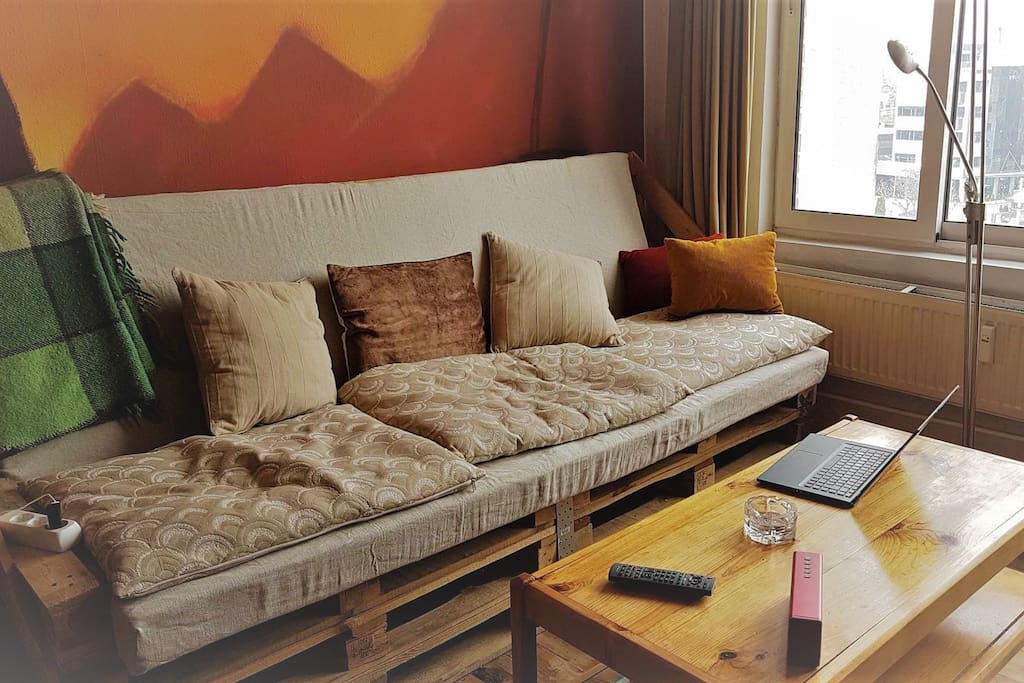 Spacious sunny living room with a TV