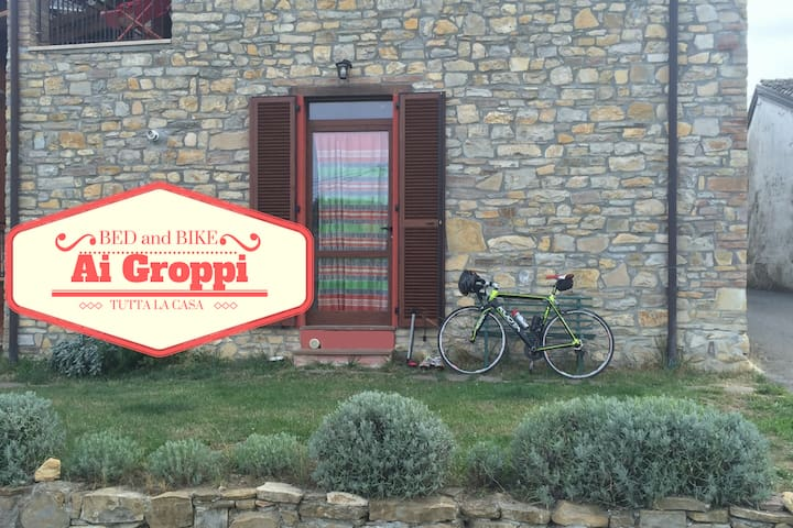 Nice house for bike lover near Gropparello Castle