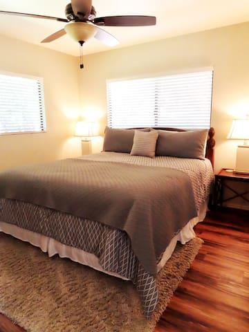 Master bedroom, California King bed.