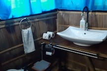 marine toilet in the 1st private bathroom