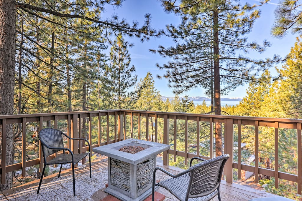 You'll be treated to incredible views from the propane fire pit on the private deck!
