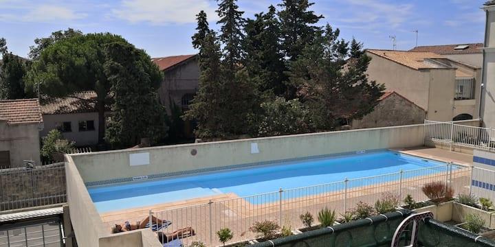 Loge entier piscine Clim Park Privé, 5mn de la Mer