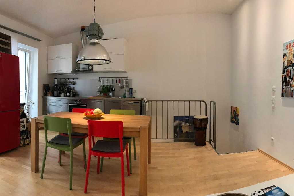 Common shared room with kitchen
