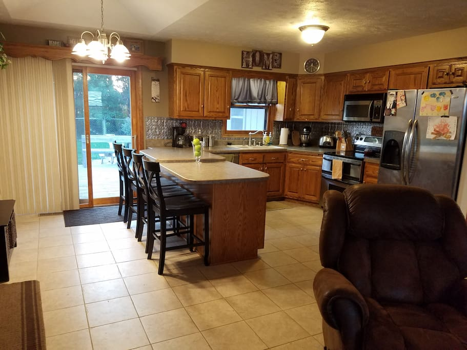 open kitchen with living area attached