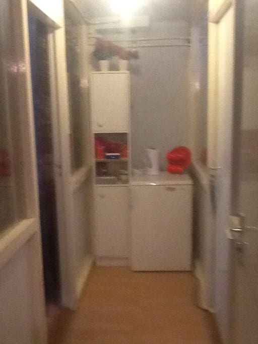 the hall next to the room with refrigerator