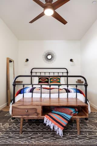Comfortable queen size memory foam bed.