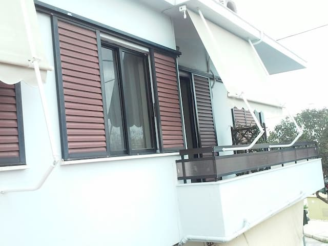 Exterior view. Balcony 2 with sunshades.