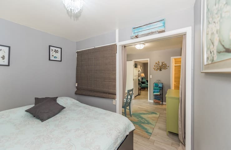 bedroom and dining area