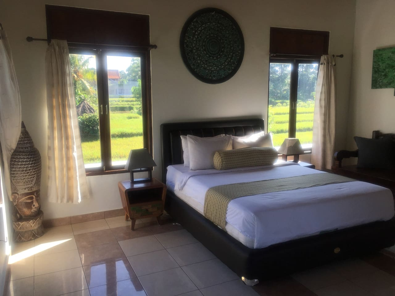 Upper Level Bedroom Surrounded by Rice Fields