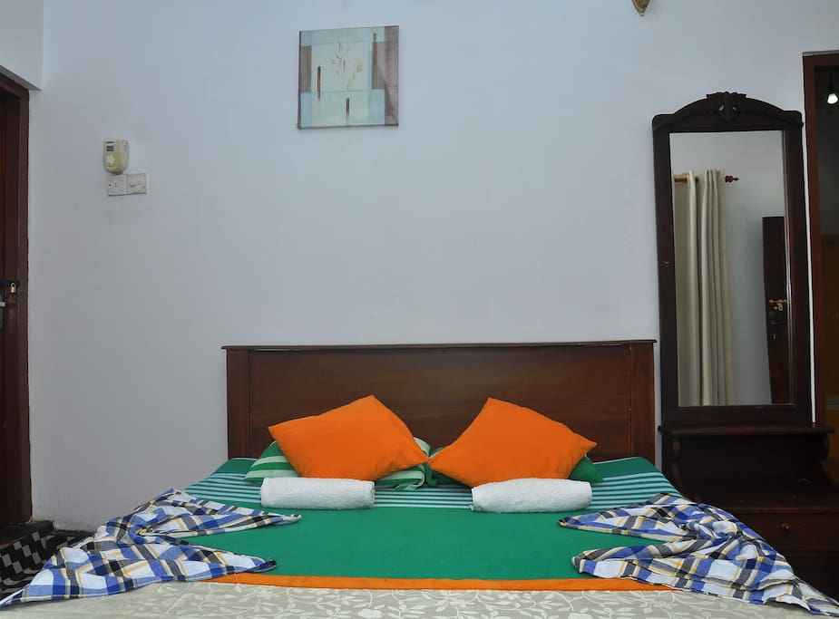 bed rooms with double bed, mosquito nets