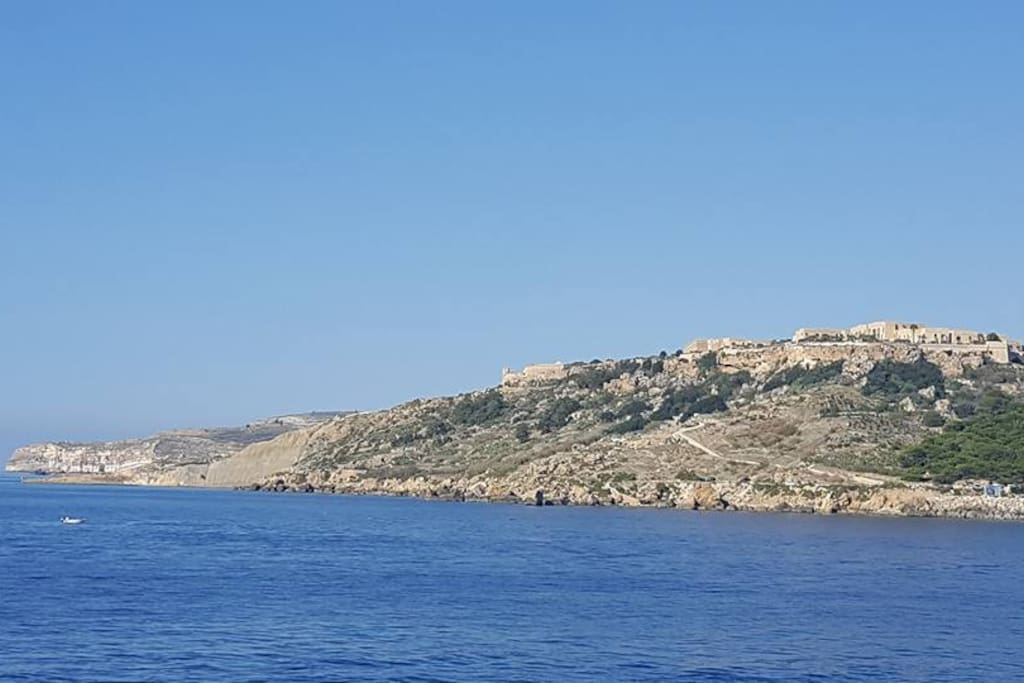 Views from ferry approaching Gozo