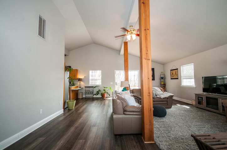 Upon entering Sunny Side Up, you will be greeted by clean comfortable spaces and open rooms.