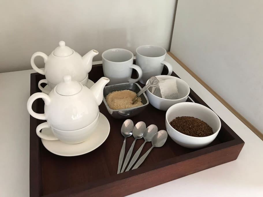 Kettle with coffee and tea available in main bedroom