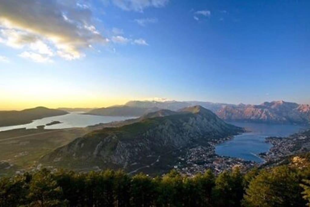 Mount Vrmac separating Tivat & Kotor Bays
