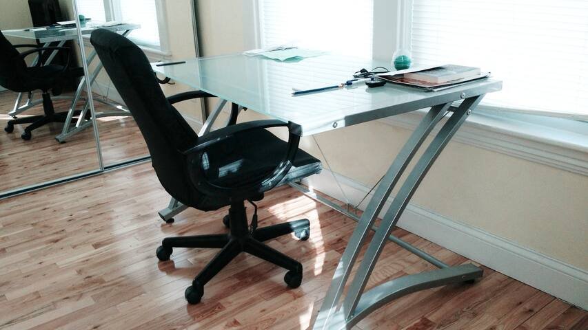 Beautiful office with comfortable chair.