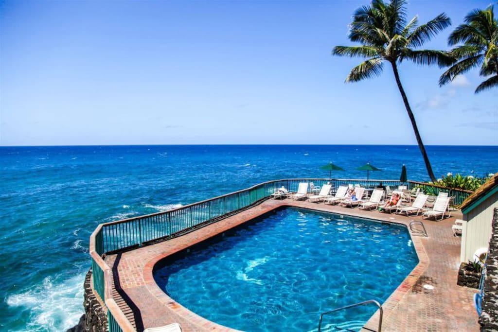 Heated, oceanfront pool.  Simply stunning