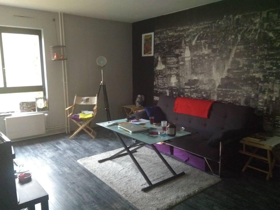 Salon possédant un canapé clic clac, avec table basse et TV.