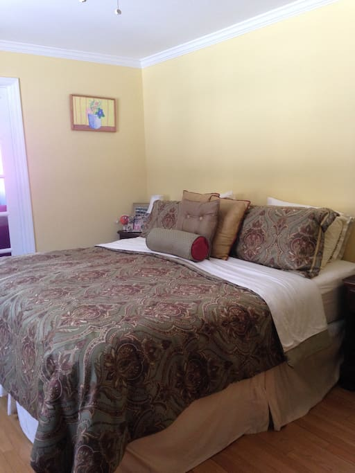 Master bedroom with California king bed.