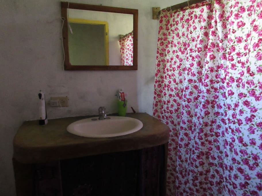 Bathroom has a shower and hot and cold water