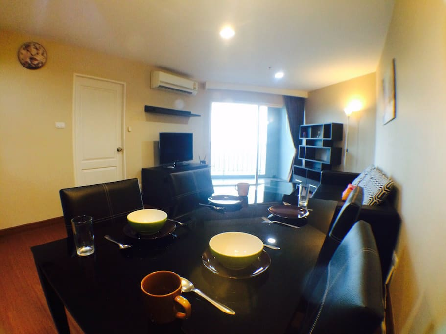 Large dining table area