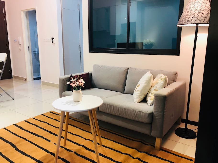 Sit in our comfortable 2 seater sofa