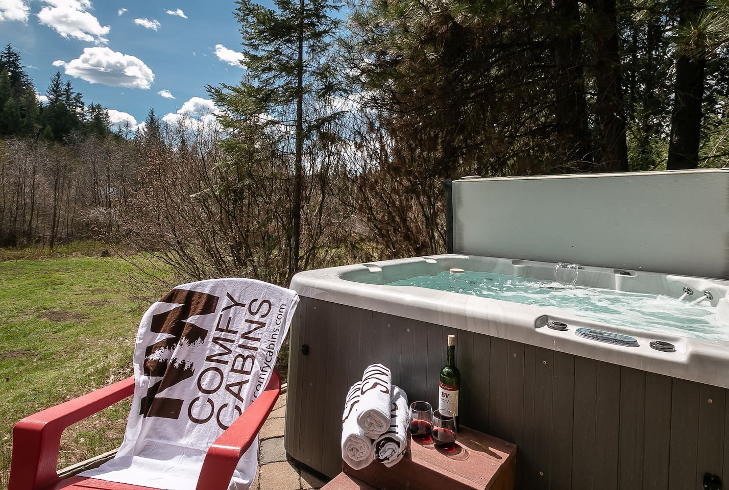 Private hot tub overlooking the meadow