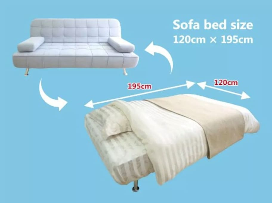Sofa bed size