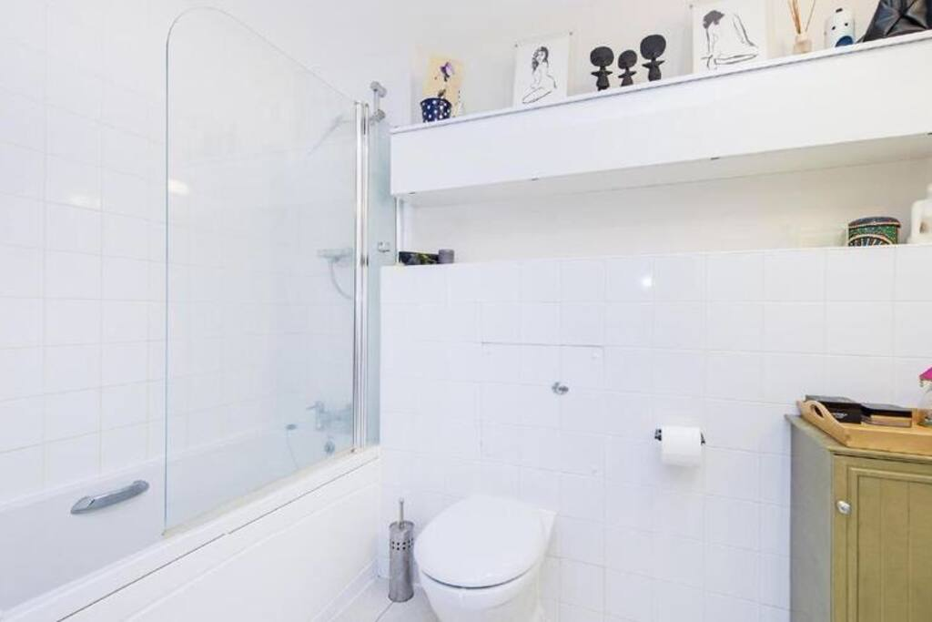The bathroom has a bath with a fitted shower. The shower has a Doosh shower head, which makes it easier to shower without getting your hair wet. The manufacturers say: 'At shoulder height a broad water flow from 204 spray nozzles ensure an invigorating and refreshing shower'