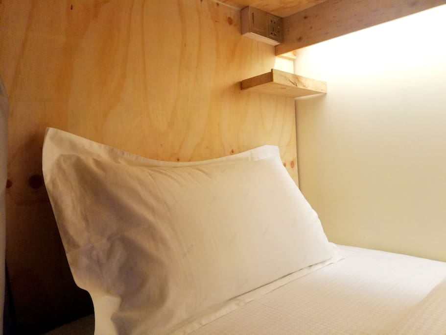 Bed with Privacy Curtains, Night Light, International Socket and Locker