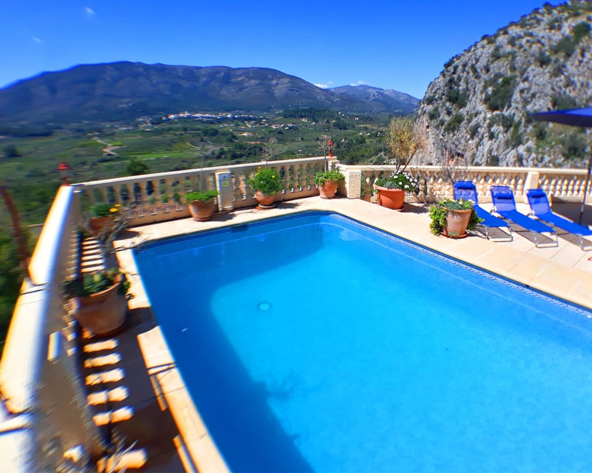 The private pool and terrace offer spectacular views across the Jalon Valley towards the village of Parcent. With the Col de Rates in the background. South facing with plenty of sun all day, it's the perfect spot to unwind and work on your suntan.