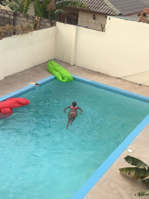 Taking my early morning lap.  Love me some exercise in the morning in my own private pool