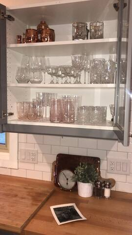 Glassware available for entertaining
