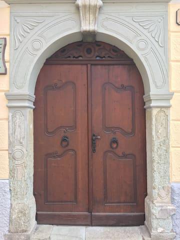 Restored wooden door entrance
