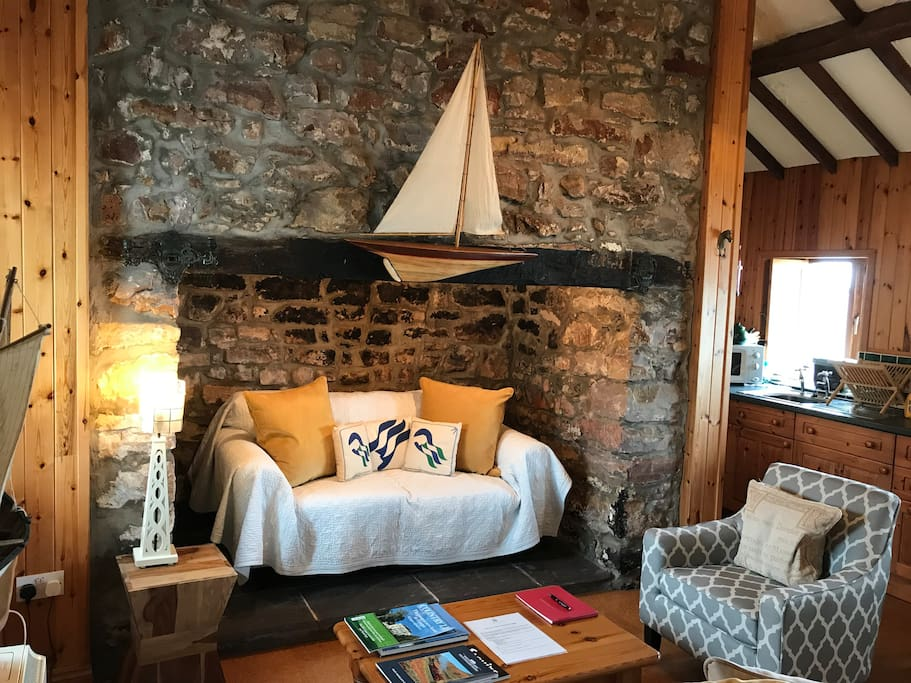 Curl up with a book in the old fire place