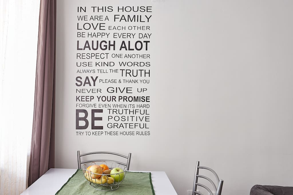 Dining area with the rules of happiness :-D