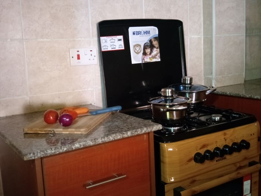Fully equipped kitchen .