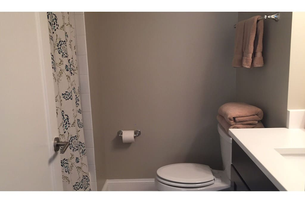 Private full bathroom with shower/bathtub in bedroom