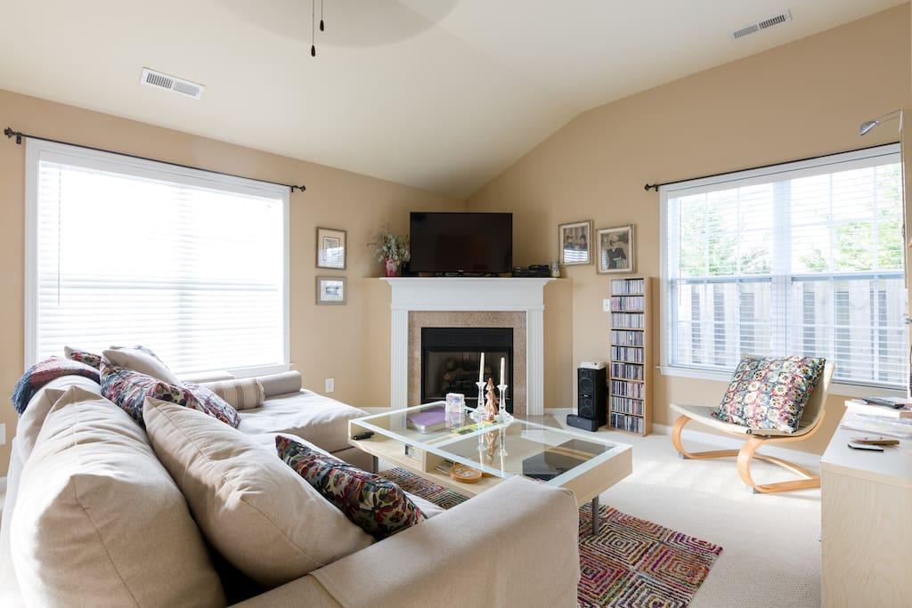 Bright, cozy living area.