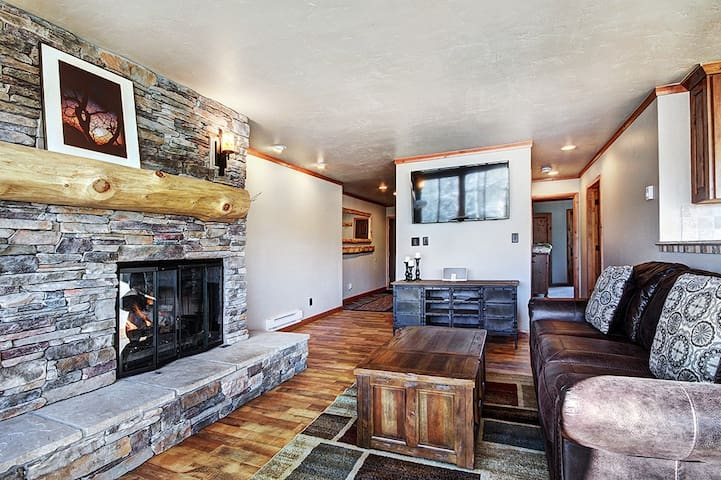 Warmly decorated with a stone hearth and gas fireplace to keep you toasty on cool evenings.