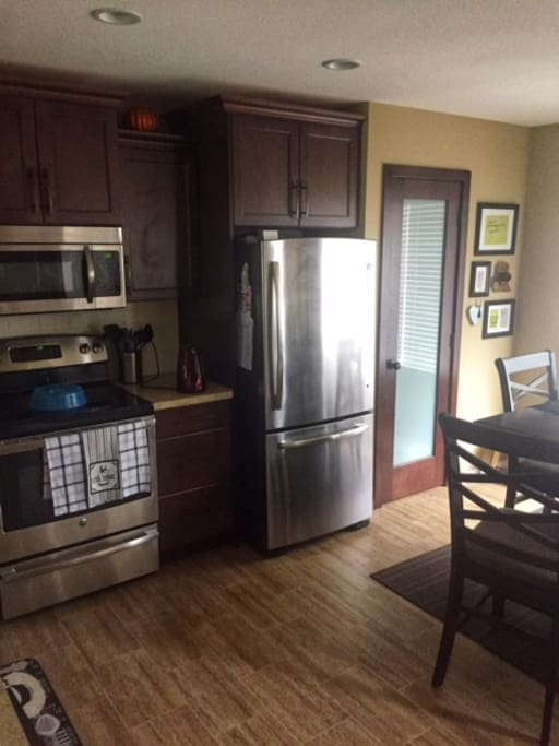 Shared kitchen space with complimentary coffee.