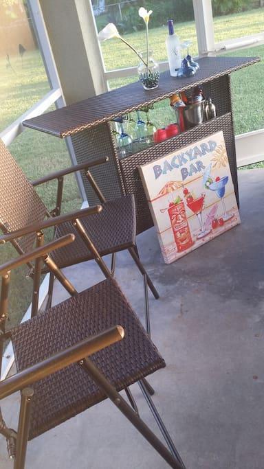 Screened in backyard lanai