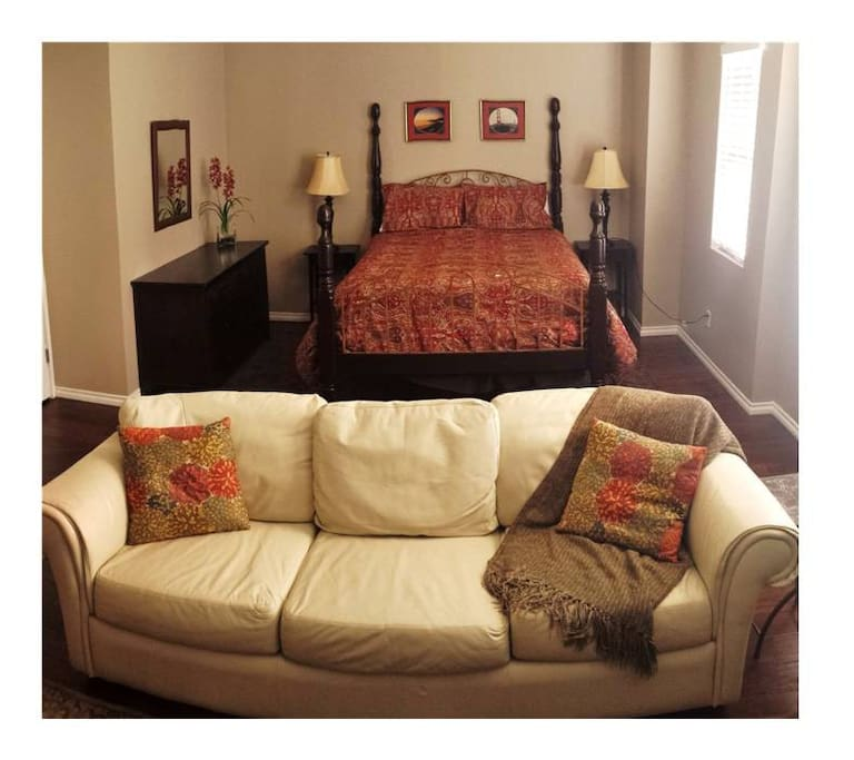 Room is large and spacious with comfy queen bed and sitting area with leather sofa, TV, mini fridge, micro, and pub table!