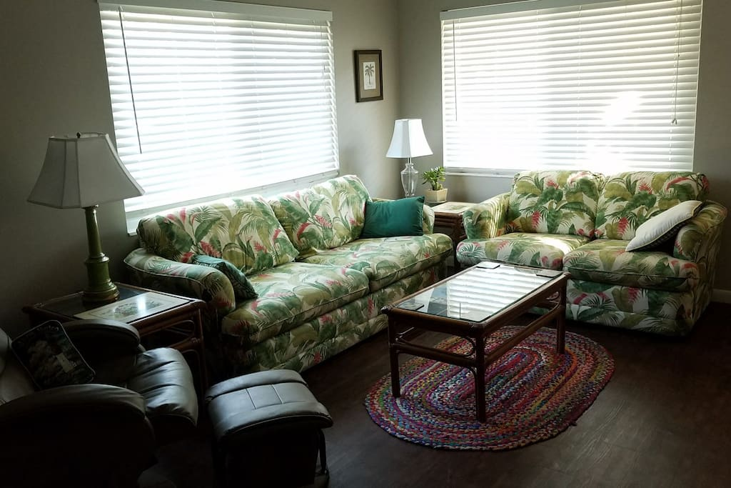 Comfy sitting area with recliner.