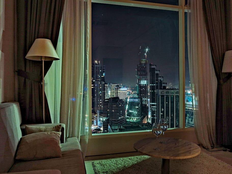 Summer night & city lights ~ Night view from living room