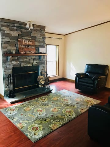Sitting Room with Wood Fireplace
