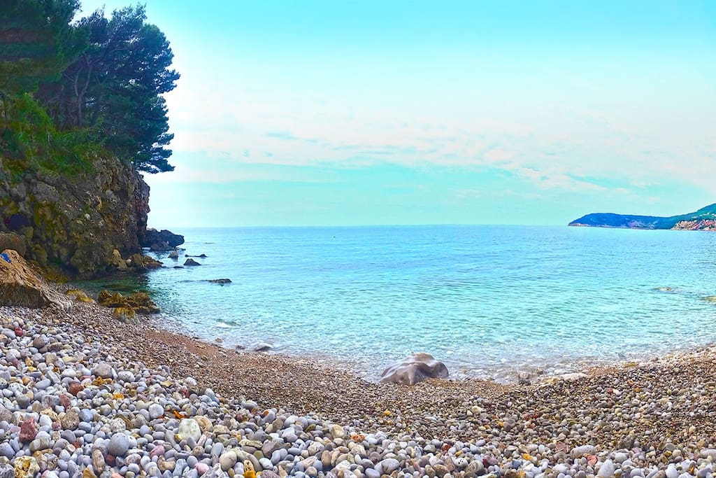 One of a few beaches on Ratac Peninsula,  50 meters away