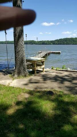 Waterfront with private boat ramp, pier and dock