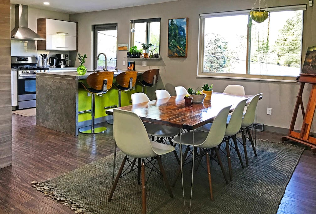 Seating for 8+ in the spacious kitchen/dining area.