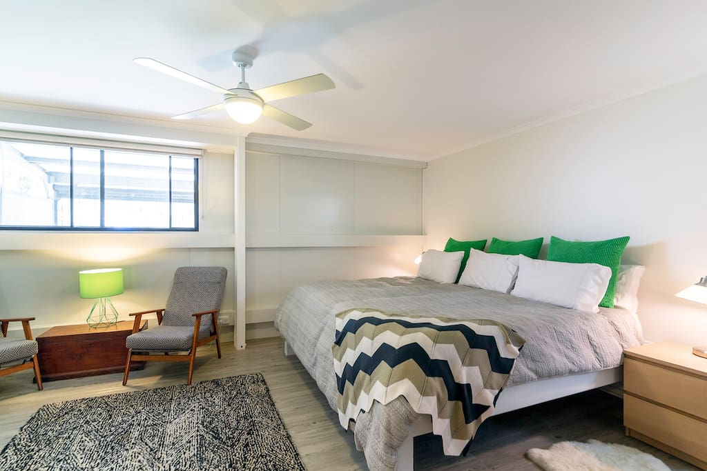 Bedroom 1, SUPERking - bigger than a normal king.  Reverse cycle air con in all the rooms