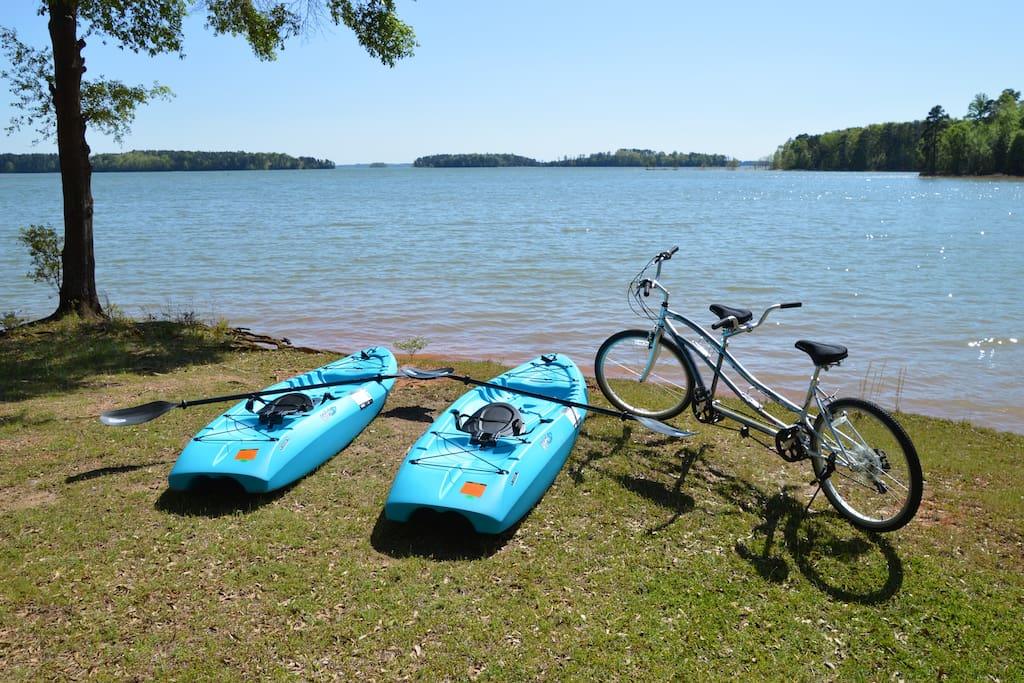 Need to get out? Hop on our kayaks to explore Lake Hartwell or take the tandem bicycle next door to Sadlers Creek State Park